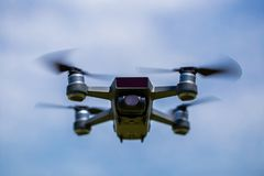 Drones with small white. Small drones are flying in the sky Stock Photos