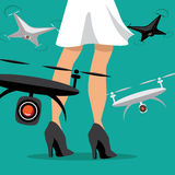 Drones surround a woman and invade her privacy Stock Images