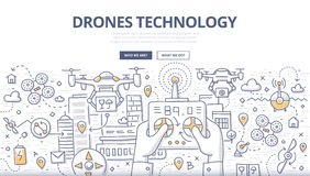 Drones Technology Doodle Concept. Doodle illustration of remotely controlled flying robots, unmanned aerial vehicles. Concept of drones technology for web