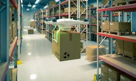 Drones work in warehouse stock photography