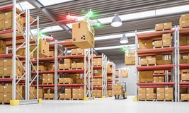 Drones work in warehouse royalty free stock photos