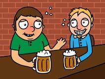 Dronken alcoholische mensen die bier in staaf drinken Stock Afbeeldingen