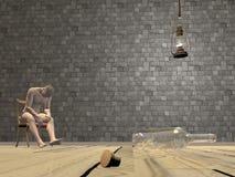 Dronken 3D mensenscène - geef terug Stock Afbeelding