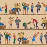 Dronken de man en de vrouwenpersoons naadloos patroon van alcoholisme dronken de benevelde karakters van beeldverhaalmensen vecto stock illustratie