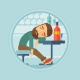 Dronken mensenslaap in bar vectorillustratie Stock Foto