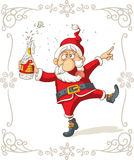 Dronken Santa Dancing Vector Cartoon Royalty-vrije Stock Afbeelding