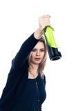 Dronken vrouw met fles alcohol Royalty-vrije Stock Afbeeldingen