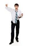 Dronken zakenman met een fles cognac royalty-vrije stock foto