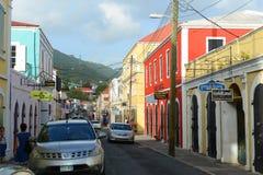 Dronningens Gade, Charlotte Amalie, Isole Vergini americane fotografia stock libera da diritti