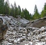 Droog bed van een bergbergstroom Stock Afbeeldingen