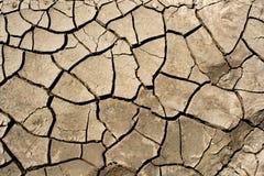 Droog gebarsten aardeachtergrond, de textuur van de kleiwoestijn Stock Afbeeldingen