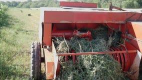 Droog gras of stro het oogsten mechanisme stock footage