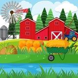 Droog hooi en rode schuren in het boerenerf vector illustratie