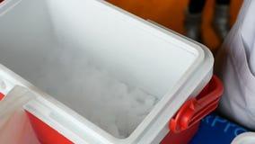 Droog ijs met damp bij plastic container Chemisch toon bij kinderenpartij stock footage