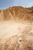 Droog land in Bardenas Reales, Navarra, Spanje stock afbeelding