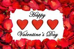 Droog nam bloemblaadjegrens met schitteren harten en de dag van Gelukkig Valentine toe Stock Foto's