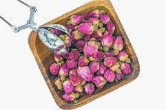 Droog nam knoppen voor thee en droog en droog in hibiscussuiker toe Chinese thee van Yunnan Bi Lo Chun De ruimte van het exemplaa Stock Foto