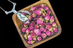 Droog nam knoppen voor thee en droog en droog in hibiscussuiker toe Chinese thee van Yunnan Bi Lo Chun De ruimte van het exemplaa Royalty-vrije Stock Fotografie
