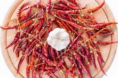 Droog peper en knoflook voor het koken Royalty-vrije Stock Foto