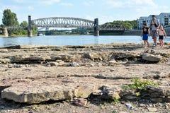 Droog rivierbed van Elbe Stock Fotografie