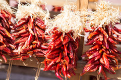 Droog rood Chili Ristras Stock Afbeelding