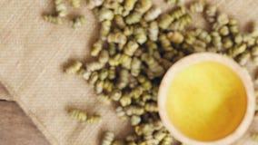 droog Shi Hu, Dendrobium huoshanense, kruidengeneeskunde op guny zakdoek met thee in houten stock video