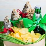 Droog vissen en bier, St Patrick ` s Dag, 23 Februari Stock Fotografie