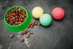 Droog voedsel voor huisdieren in kom royalty-vrije stock foto's
