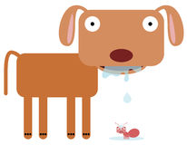 Drooling. A drooling dog with it's saliva falling on an ant stock illustration