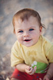 Drooling Cute Baby Girl Stock Images