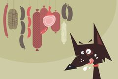 Drooling dog and sausages. Cartoon of a drooling dog and hanged sausages Stock Image