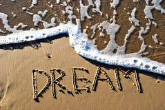 Droom die op zand wordt geschreven Stock Afbeeldingen