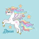 droom Een mooie, kleine eenhoorn op een blauwe achtergrond vector illustratie