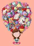 Droom en gedacht aan tiener royalty-vrije illustratie