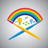 Droom het schilderen borstel vectorpictogram in vlak ontwerpformaat met regen Stock Foto