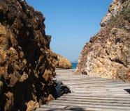 Droomscène, mooi strand De mening van de de zomeraard Stock Afbeelding