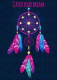 Droomvanger met abstracte veren in etnische stijl Stock Foto's