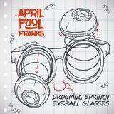 Drooping Springy Eyeball Glasses for April Fools' Day, Vector Illustration. Drooping springy eyeball glasses draw in a notebook paper to do funny pranks in April Stock Photography