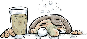 Droopy Drunk. A cartoon drunk person leans their face against the bar Stock Image