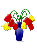 Droopy Tulips. An illustration of a vase of wilting tulips Royalty Free Stock Photography