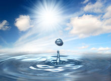 Drop. Of water to the sky and sun Stock Images