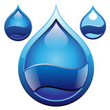 Drop badge. Glossy water drop shape badge royalty free illustration