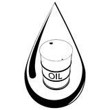 Drop and barrel with oil Royalty Free Stock Images