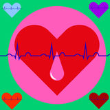 A drop of blood on the background of the heart and ECG. Blood Donor Day Royalty Free Stock Image