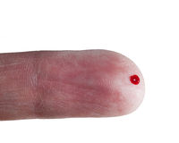 Drop of blood on finger of male Royalty Free Stock Photography