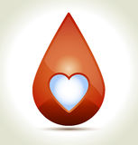 Drop of Blood. With white heart and shadow Stock Photos