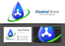 Drop Clean Water Corporate Logo and Business Card Sign Template. Stock Photos