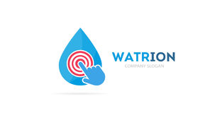 Drop and click logo combination. Aqua and cursor symbol or icon. Unique water and oil logotype design template. Royalty Free Stock Photo