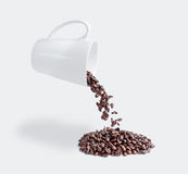 Drop coffee. Falling out of a coffee mug Stock Image