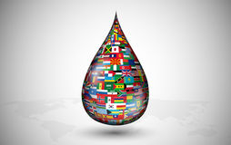Drop consisting of the flags countries Royalty Free Stock Photography